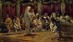 James J. Tissot (French painter and illustrator, 1836-1902)  Jesus washes feet of disciples