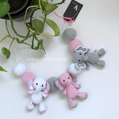 Ravelry: Elephant mobile pattern by Anna Nilsson Crochet Baby Mobiles, Crochet Mobile, Crochet Toys, Crochet Bebe, Crochet For Kids, Free Crochet, Elephant Mobile, Elephant Nursery, Baby Patterns