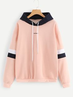 To find out about the Contrast Panel Drawstring Hoodie at SHEIN, part of our latest Sweatshirts ready to shop online today! Cute Sweatshirts, Cool Hoodies, Colorful Hoodies, Cheap Hoodies, Teen Fashion Outfits, Outfits For Teens, Punk Fashion, Lolita Fashion, Summer Outfits
