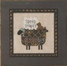 "From Bent Creek comes ""Black Sheep Zipper"" ~ cross stitched on 32 count linen.  Available to order online at Ye Olde Cross Stitchery."