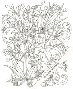 Cynthia Emerlye, Vermont artist and kirigami papercutter: Jacobean Hemp - an adult coloring page
