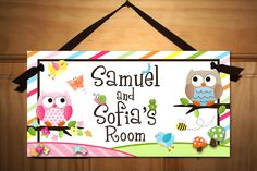 Twin Boy and Girl Owls Love Birdies and Stripes DOOR SIGN Nature Forest Bedroom and Baby Nursery Kids Bedroom Wall Art. $14.00, via Etsy.