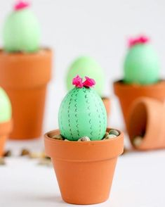 Cactus painted eggs for easter