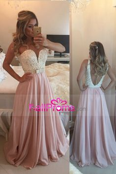 2016 Prom Dresses Scoop A Line Chiffon With Beading Sweep Train