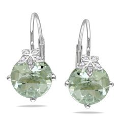 @Overstock.com - Miadora 10k Gold Diamond and Green Amethyst Earrings - Add a lovely finishing touch to your look with a pair of charming earringsJewelry is crafted of lustrous 10-karat white goldEarrings sparkle with frosty green amethysts and twinkling diamonds set in pretty floral motifs  http://www.overstock.com/Jewelry-Watches/Miadora-10k-Gold-Diamond-and-Green-Amethyst-Earrings/3864846/product.html?CID=214117 $188.09