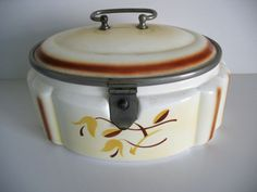 Art Deco Spritzdekor Keramik Deckeldose Keksdose Gebäckdose Metallmontur um 1930   eBay