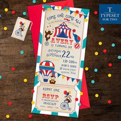 Circus Birthday Party Invitation, Carnival Birthday, Carnival Party Ticket, Circus Theme Party, Printable, Digital File Only
