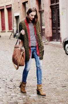 plaid shirt + stripes / denim / brown boots / fall layers / outfit
