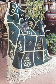 Pineapple Afghan Crochet Pattern by PaperButtercup on Etsy