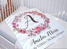 Summer savings personalized baby blanket monogrammed baby blanket custom baby blanket baby blanket with name new baby gift baby shower gift idea new parent gift baby swaddle blanket negle Images