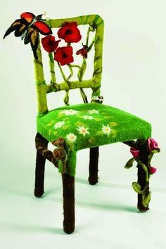The Art Of Up-Cycling: Upcycled Chairs - Cool Ideas For Random Chair Make Overs. - The Art Of Up-Cycling: Upcycled Chairs – Cool Ideas For Random Chair Make Overs… - Nuno Felting, Needle Felting, Funky Furniture, Painted Furniture, Office Furniture, Rustic Home Design, Yarn Bombing, Cool Chairs, Felt Art