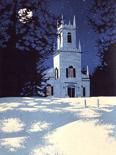 """Seven-color linocut print of the Christ Church in Guilford Vermont at night, in winter, entitled """"Guilford Night""""."""