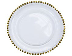 Beaded Glass Charger Plate - Gold trim ● As Low as $9.99 ● Get yours here http://www.cvlinens.com/beaded-glass-charger-plate-gold-trim-p-6234.html