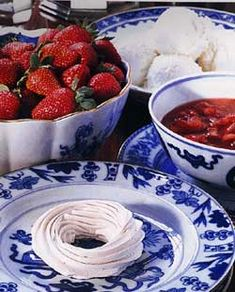 It was once tradition in my husband's family for the siblings/spouses to have lunch at the Kings Arms Tavern in Williamsburg after Christmas where we would get the Meringues with vanilla ice cream and strawberries.  Here is the recipe from, The Colonial Williamsburg Official History Site.  It will become a dessert favorite!