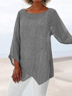 Crew Neck Long Sleeve Paneled Holiday Shirts & Tops fylcst - Women Long Sleeve Shirts - Ideas of Wom Striped Long Sleeve Shirt, Long Sleeve Shirts, Striped Shirts, Striped Tops, Striped Linen, Casual Tops For Women, Types Of Sleeves, Blouse Designs, Ideias Fashion