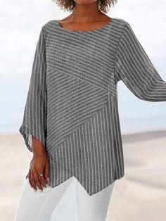 Crew Neck Long Sleeve Paneled Holiday Shirts & Tops fylcst - Women Long Sleeve Shirts - Ideas of Wom Striped Long Sleeve Shirt, Long Sleeve Shirts, Striped Shirts, Striped Tops, Casual Tops For Women, Grey Women's Tops, Casual T Shirts, Types Of Sleeves, Clothes