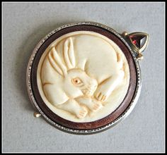 Japanese Silver Accessories Netsuke rough waves in the sun from JAPAN F//S