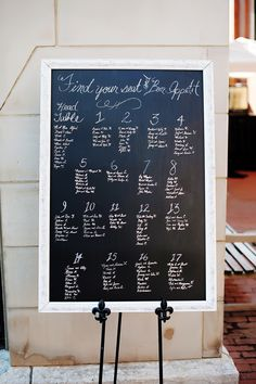 DIY Seating chart - table assignments made by my wonderful momma