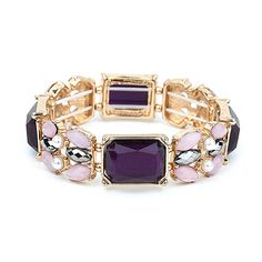 Purple Mixed Stone Bracelet for Prom or Bridesmaids Pretty purple bracelet is ideal for bridesmaids, prom or homecoming. Glittery purple gemstones are the star of this high fashion stretch bracelet by Mariell. When your prom or bridesmaids gown needs a bold splash of color, this deep purple and pink bracelet is the go-to stylin' accessory.