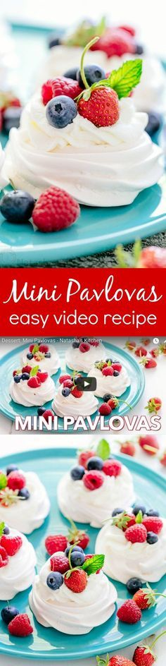 Pavlova is a showstopping meringue dessert and is easier than you think! Mini pavlovas have crisp shells and marshmallow centers. They melt-in-your-mouth!   natashaskitchen.com