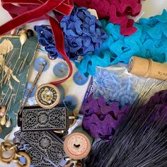 Vintage Sewing Notions, Rick Rack, Wooden Spools, Needle Case, Velvet Ribbon, Hat Pins, Purple And Black, Feather, Old Things