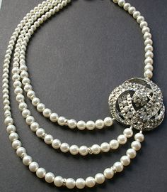 Art Deco Style Bridal Necklace Statement Wedding by luxedeluxe