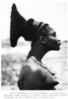 AMOUS FASHIONABLE HAIR-STYLISH CONGOLESE (AFRICAN) TRIBE THAT PRACTICED LIPOMBO (HEAD ELONGATION) CUSTOMS.