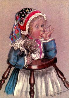 Marie-Claude Monchaux - Les enfants bretons – Petite fille en bonnet de Cornouaille