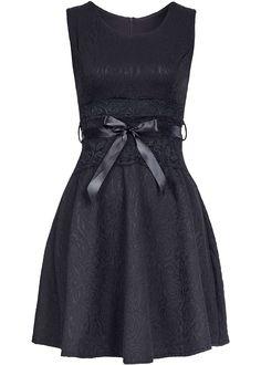 Styleboom Fashion Damen Mini Kleid Florales Muster Spitze Bindeband schwarz - 77onlineshop