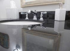 Bathroom vanity | Park City, UT - Absolute Black granite provided by Accent Interiors Black Granite, Park City, Granite Countertops, Bathrooms, Sink, Vanity, Interiors, House Styles, Ideas