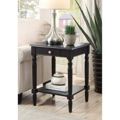country living room furniture - Convenience Concepts French Country End Table with Drawer and Shelf, Black living room furniture layout Click image to read more details. Black Accent Table, Black End Tables, End Tables With Drawers, End Table Sets, Wood End Tables, End Tables With Storage, Table Storage, Entryway Tables, French Country Collections