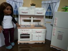 American Girl Doll Crafts and Fun!: Our Generation Kitchen Review/Tour American Girl Kitchen, American Girl House, American Girl Doll Sets, American Girls, Doll Furniture, Dollhouse Furniture, Ag Dolls, Girl Dolls, Our Generation Dolls