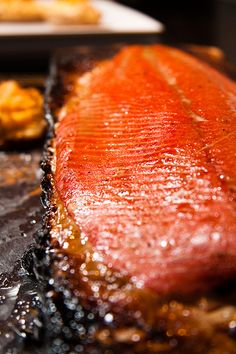 Bobby Flay's Honey & Bourbon Glazed Planked Salmon Recipe Chef Recipes, Grilling Recipes, Cooking Recipes, Copycat Recipes, Cooking Tips, Salmon Recipes, Fish Recipes, Seafood Recipes, Bourbon Salmon