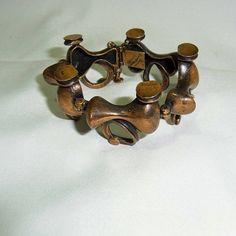 Jorma Laine Finland vintage modernist bronze designer bracelet from the (Turun Hopea). Finland, Bronze, Bracelet Designs, 1970s, Cufflinks, Bracelets, Dates, Etsy, Safety