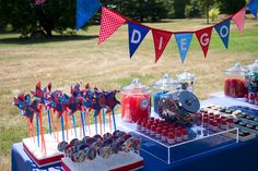 Sweets and Favor Table at Spiderman Themed Birthday Party by Lindsay Landman Events, Photo by Sharon Schuster