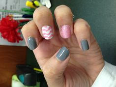 Chevron nail! I first did pink dots on my white nail and let it dry. Then I went back with my dot tool and connected the dots. And finally my favorite nail design so far
