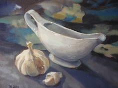 Jug and Garlic (oil on board)