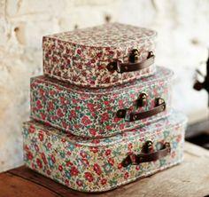Set of 3 Storage Boxes Vintage Garden Floral Suitcase Design Ditsy Flower New #SassBelle #VintageRetro