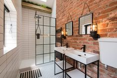 Beespace is proud to have recently been involved in the design of what was formally an old stable turned MOT garage in Nottingham. Which was turned into two luxury, 'New York meets English' loft-style apartments. Industrial Bathroom Design, Industrial Interior Design, Industrial Interiors, Industrial House, Bathroom Interior Design, Nautical Interior, Industrial Style, Industrial Kitchens, Brick Interior