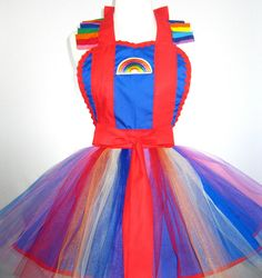 Adult Rainbow Brite Costume Tutu Apron by FlirtyandFunAprons