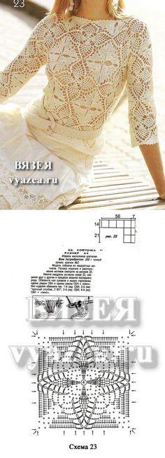La blusa por el gancho recogido de los motivos cuadrados | las Manos De oro