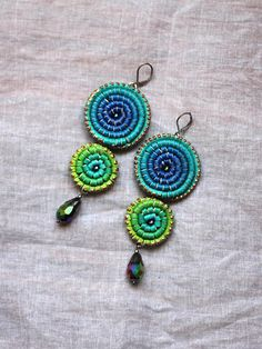 Leather Ombre Earrings Painted Purple Turquoise Green Double Copper Accents, Faceted Glass, Metallic Paint, Leather Jewelry, Textile Design, Wire Wrapping, Jewelery, Crochet Earrings, Wraps