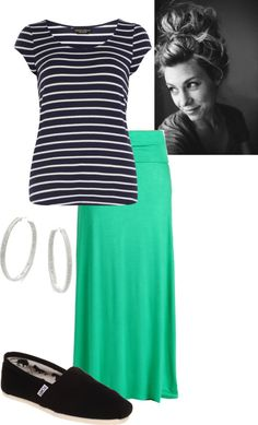 """""""Stripes And Teal!"""" by cesmithe ❤ liked on Polyvore"""
