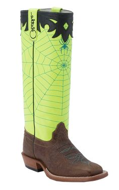 Olathe® Kid's Chocolate Mohawk w/Neon Yellow Spider Web Tall Top Double Welt Square Toe Western Boots