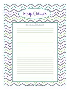 Soups and Stews section divider for kitchen binder recipes section, inlcuding space to make a list of what recipes are in that section. From ScatteredSquirrel.com