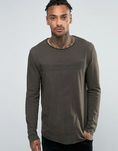 4efb032951b Longline Long Sleeve T-Shirt With Tape Detail And Curved Hem