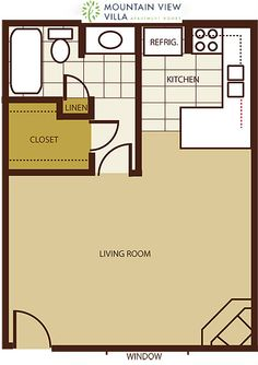 Mt. View Villa Apartments Studio Floorplan, Cottonwood, AZ