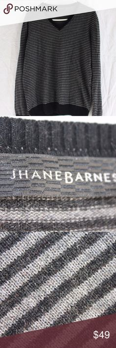 """Cashmere Blend Striped V Neck Sweater Pullover Soft Sporty Black and Gray Striped V Neck Sweater Men's Size Medium Pull Over by Jhane Barnes 50% Cashmere  50% Seta Black Banded Waist, Sleeves and Neck Dry Clean Made in Romania  Measurements taken from the front while item is laying on a flat surface. Collar seam to bottom of garment - 25"""" Shoulder seam to shoulder seam - 18"""" Armpit to armpit - 21.5"""" Sleeve - 25.5"""" Waist -   21.5"""" Jhane Barnes Sweaters V-Neck"""