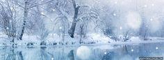 Winter Snowfall River Facebook Cover