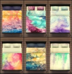 25 Watercolor beddings by PearlStitches at Mod The Sims